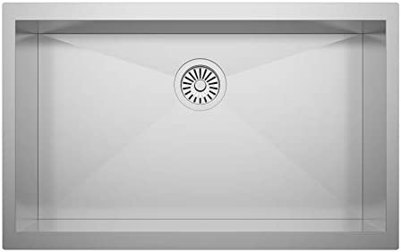 ZUHNE 30X18 ADA Compliant Shallow 6 Basin Zero Radius Single Bowl Under Mount Stainless Steel Bar, Prep, Kitchen, Laundry and Utility Sink, Fits 33 Cabinet