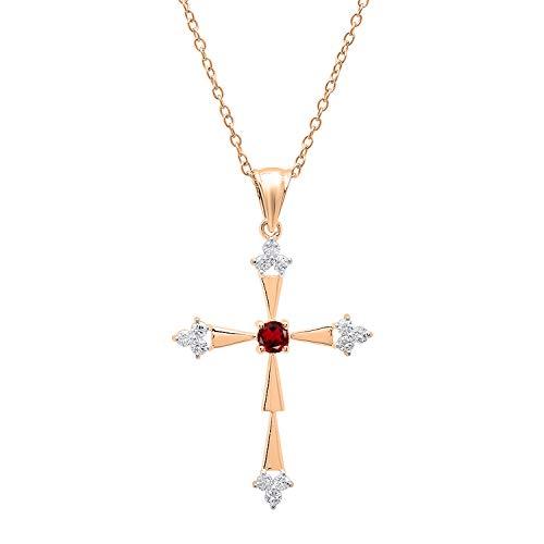 (Dazzlingrock Collection 10K Round Garnet & White Diamond Ladies Cross Pendant, Rose Gold)