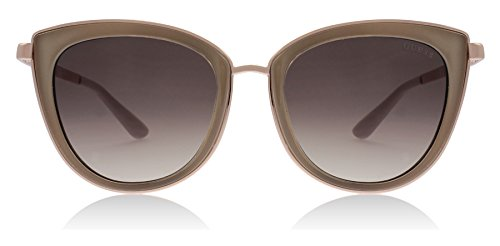 Guess GU7491 57F Beige/Gold GU7491 Cats Eyes Sunglasses Lens Category 3 Size by GUESS