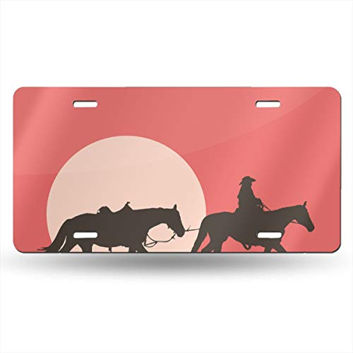 Poream Western Cowboy Style Riding at Sunset Customized Novelty Label Aluminum License Plate Cover Protector for All Standard Cars 6