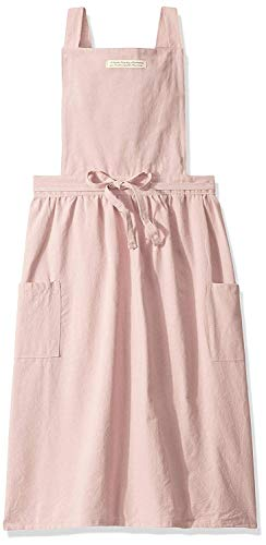ReLU House Soft Washed Cotton Aprons for Women with 2 Pockets for Cooking, Baking, Crafting, Flower Arrangement (Pink, M)