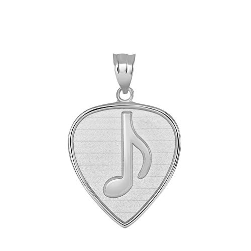(Fine 925 Sterling Silver Musical Note Guitar Pick Charm Pendant)