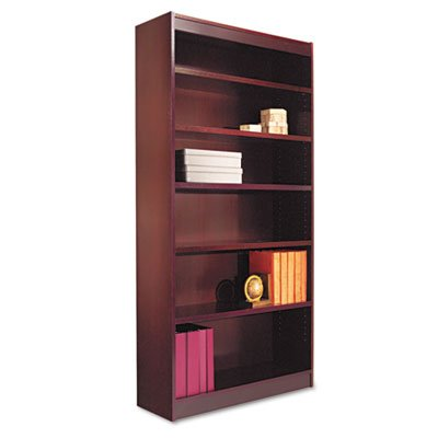 Alera Square Corner Bookcase, Finished Back, Wood Veneer, 6-Shelf, 36 W by 12 D by 72 H, Mahogany