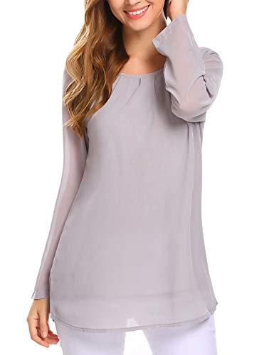 052ac3db5948f6 Beyove Womens Shell Tops Long Sleeve Blouse Keyhole Chiffon Layered Tank Top