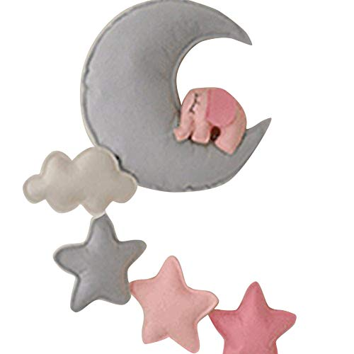 Loghot The Moon Stars Elephant Felt Decorative Wall Hanging DIY Decorations for Baby Children Theme Photo Props Backdrops (Pink)