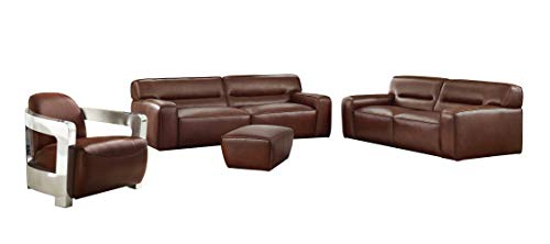 Sunset Trading Milan 4 Piece Living Room Set | Sofa | Loveseat | Aviator Chair with Chrome Arms | Ottoman, Deep Seating, Brown (Me Ottoman Near)