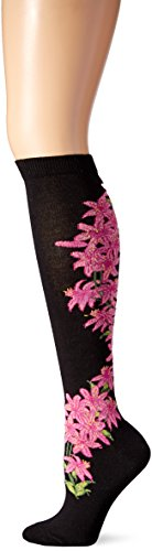 Knee Floral High Socks - Ozone Women's Daylily Apothecary Florals Knee High Sock, black, 9-11