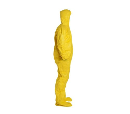 DuPont Tychem 2000 Disposable Chemical Resistant Coverall with Elastic Cuff, Hood and Socks, Yellow, 4X-Large, 12-Pack