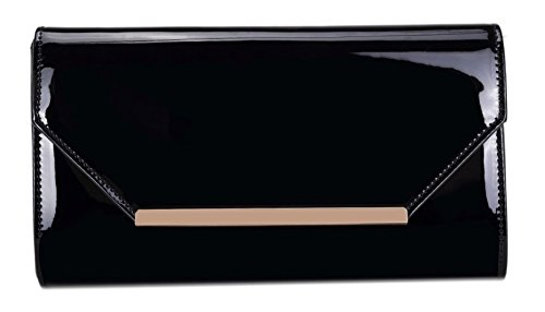 Girly HandBags Women's Elegant Patent Clutch Bag -- Black