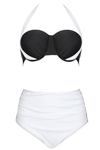 Swimsuit ,QinYing Womens Sexy Colorblock Halter Bandage Bikini Sets White S/US 0-2