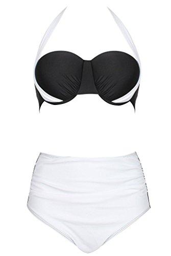 Swimsuit ,QinYing Womens Sexy Colorblock Halter Bandage Bikini Sets White M/US 2-4