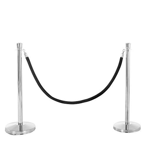 USW U2140 Chrome Post and Black Rope Stanchions, One Size (Pack of 3) -