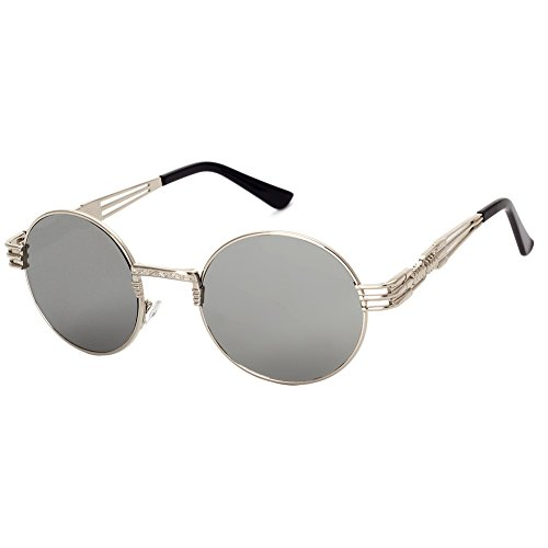 GAMT Retro Metal Hipster Steampunk Round Style Coating Sunglasses Silver