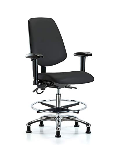 LabTech Seating LT41273 ESD Vinyl Medium Bench Chair Medium Back Chrome Base, Arms, Chrome Foot Ring, ESD Glides, Black