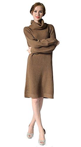 Manche Veste Acvip Café Femme Robe Roulé Pull En Tricot Top Casual Col Longue v8v7UwqZ