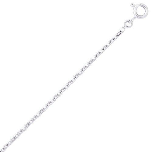 So Chic Bijoux © Chaîne Collier Longueur 40 cm Maille Forçat Diamantée 1,87 mm Or Blanc 750/000 (18 carats)