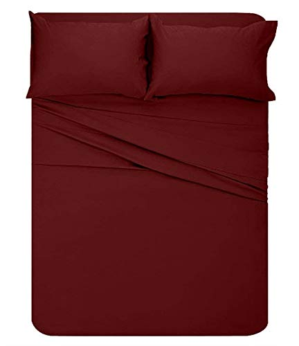 "Price comparison product image Lavish Linens Queen Size Attached Waterbed Sheet 6"" Deep Solid Burgundy - 1800 Series Brushed Microfiber Wrinkle Free, Stain & Fade Resistant"