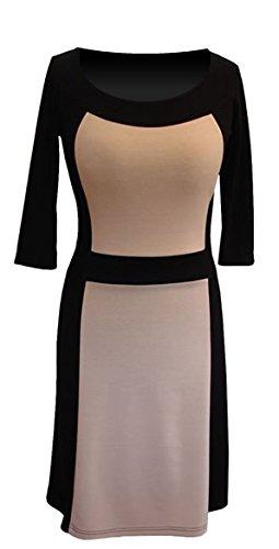 95876f019c9b Berry - Hübsches und schlank machendes Kleid 3 4-Arm mit Einsätzen in  Kontrastfarbe