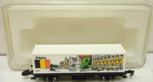 Marklin 82554 Mini Club Z gauge rail car. Car represents Belgium.