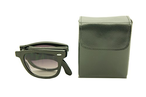 ColorViper Sports Folding Wayfarer Readers Sunglasses Bifocus Reading with carry case 53mm-20mm-129mm (shiny black, - Folding Wayfarer Case