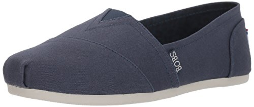 Skechers BOBS Women's Bobs Plush-Peace and Love Ballet Flat, Dark Navy, 8 W US by Skechers
