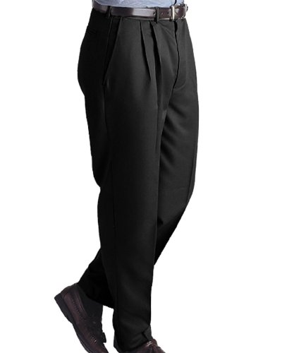 Ed Garments Men's Pleated Front Brass Zipper Dress Pant, BLACK, 38 34 (Zipper Front Pleated Dress)