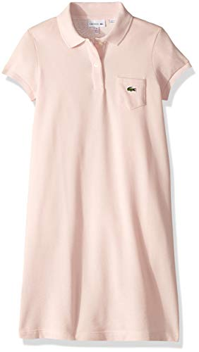 Polos Girls Solid Pique - Lacoste Big Girl Solid Polo Dress, Nidus, 10YR