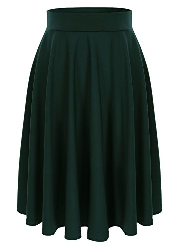 Jupe Patineuse Femmes Vert Basique Fille Midi Wedtrend Taille Elastique Jupe Fonc Pliss Haute lgante Cocktail Vintage Casual Plisse qHAdpnP
