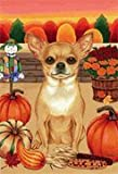 Chihuahua – by Tomoyo Pitcher, Autumn Themed Dog Breed Flags 12 x 18