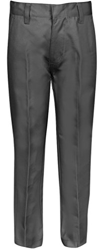 PREMIUM Flat Front Pants for Boys with Adjustable Waist 8 Grey ()