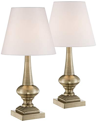 Brass Antique Pedestal (Antique Brass Finish Touch On-Off Table Lamps Set of 2)