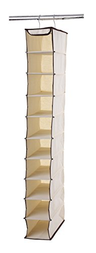 Hanging Shoe Holder (Ybm Home Hanging 10 Shelf Shoe, Footwear, Wardrobe Accessories Clothing, Sorter Holder Closet Organizer Natural with Brown Trim 2203)