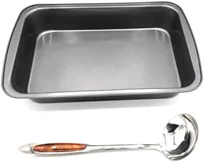 April Supply 9 inch by 14 inch Detroit Style Pizza Pan with Sauce Ladle Square Lasagna Baking Dish with Stainless Steel Ladle