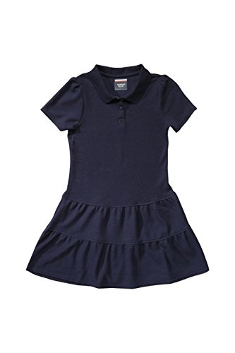 French Toast Big Girls' Ruffled Pique Dress, Navy, Large/10/12 (Uniform Dress School)