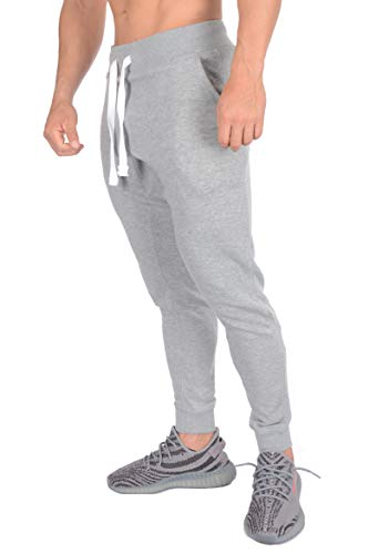 YoungLA Tapered Sweatpants Joggers for Men - Cotton Gym Training Workout Pants 206 Athletic Heather XX-Large
