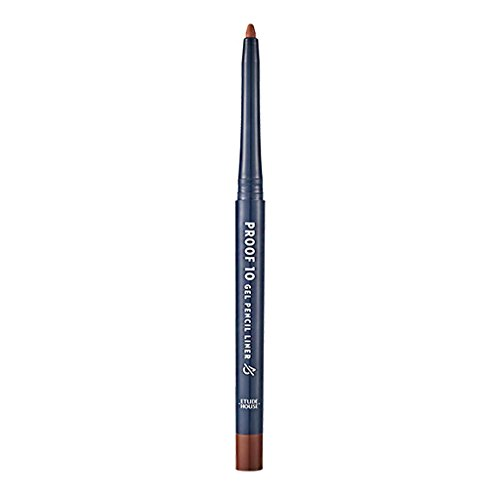 ETUDE HOUSE Proof 10 Gel Pencil Liner 0.3g (#4 Rosy Brown) - Soft Melting Gel Formula, Resistant to Water and Oil, Storng Color with Single Touch, Smudge-Proof, Fast-Fixing with Creamy - Gel Single
