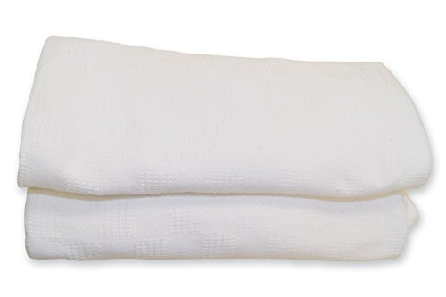Vanda6549 White Thermal Hospital Blanket Twin snagfree100% Cotton Size 66X90