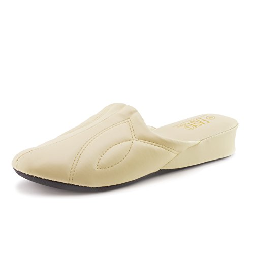 Easy Womens Vinyl Lounge House Slippers (Adults) Beige