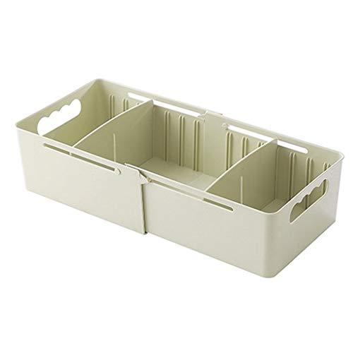 Ouniman Flexible Desktop Storage Box Adjustable Housing Spacer Drawer Divider Household Storage for Home Tidy Closet Stationary Makeup Socks Underwear Scarves Organizer - Greenment]()