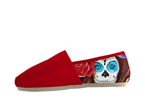 Kvinna Canvas Skor Med Day Of The Dead Temat Tillfälliga Kvinnor Shoes07