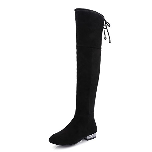 AmoonyFashion Women's Zipper Low Heels Frosted Solid High Top Boots, Black, 40 ()