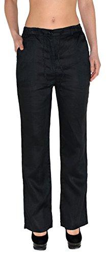 by-tex Femmes Pantalons de Lin Femmes Pantalons d't Femmes Pantalons de Loisirs Pantalon de Rlax H108 H105-noir