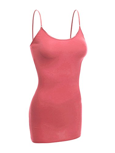 Emmalise Women Basic Built in Bra Spaghetti Strap Cami Top Tank - Dusty Rose, ()