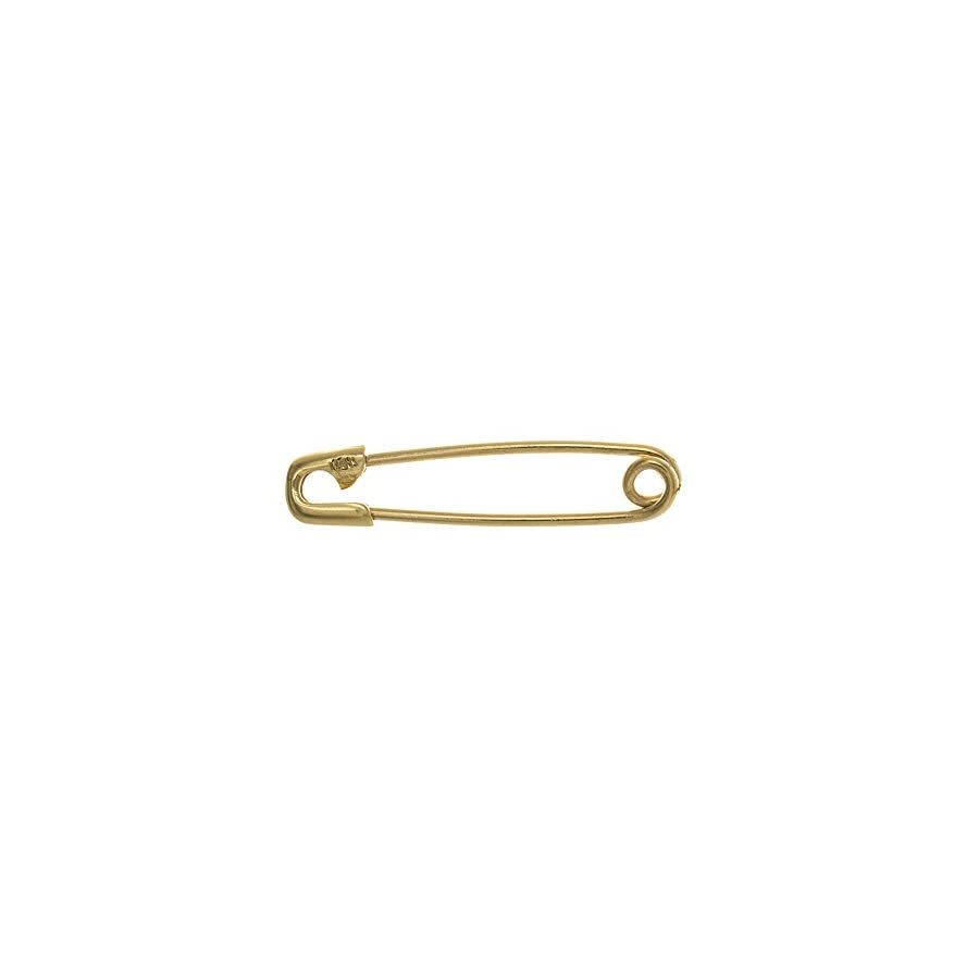 14k Yellow Gold Safety Pin Charm Holder, SMALL Size