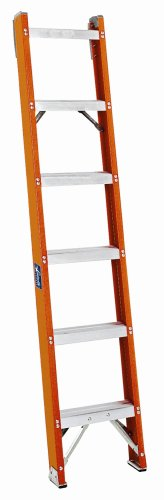 Louisville Ladder FH1004 300-Pound Duty Rating Fiberglass Shelf Ladder, 4-Foot