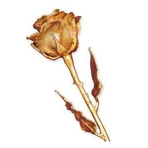 Long Stem 24K Gold Dipped Genuine Rose In Gold Gift Box 25