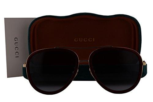 Gucci GG0062S Sunglasses Red Gold w/Blue Gradient Lens 005 GG - Gg0062s Gucci