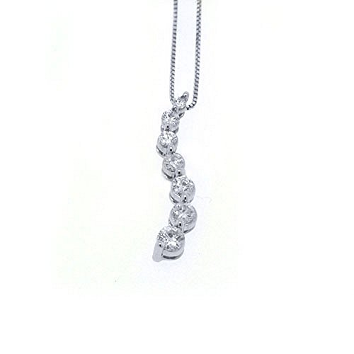 14k White Gold Diamond Journey Pendant .75 Carats