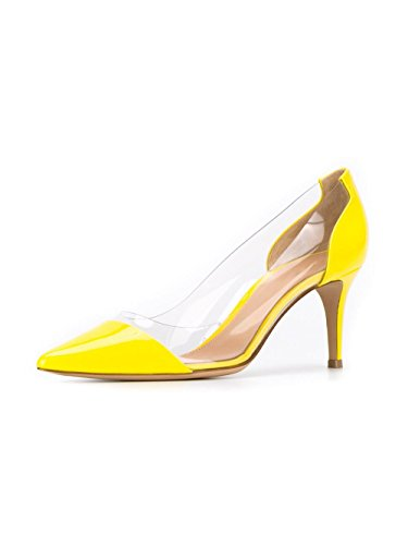 Toe Pointed Transparent Women's Dress Yellow Kitten Sammitop 5cm Heel Pumps 6 Shoes PVC w1IWUS