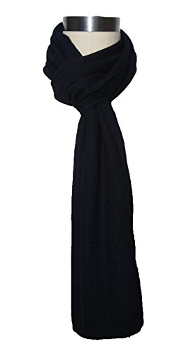 Miuk Women's 100% Pure Cashmere Winter Warm Knit Scarf Navy